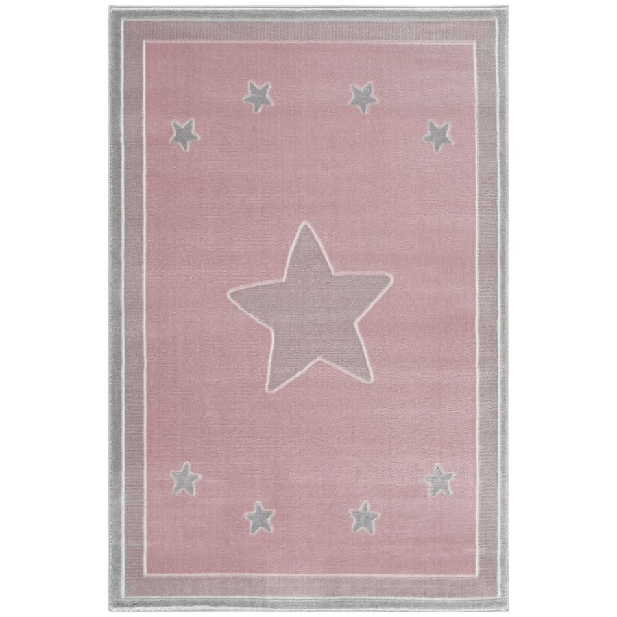 LIVONE Barnmatta Happy Rugs - Princess rosa/silvergrå, 160 x 230 cm