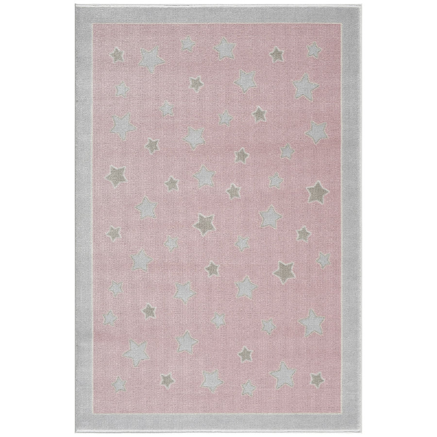 LIVONE lek og barneteppe Happy Rugs - Planetrosa / sølvgrå, 120 x 180 cm