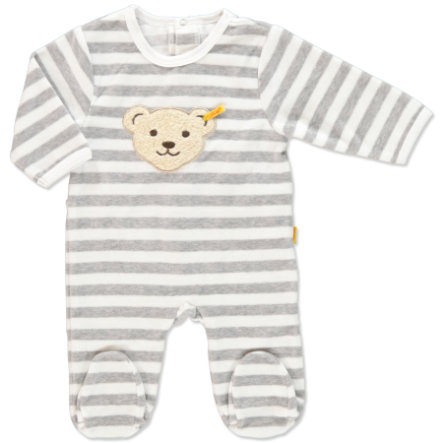 STEIFF Baby Velour Romper Stripes softgrey
