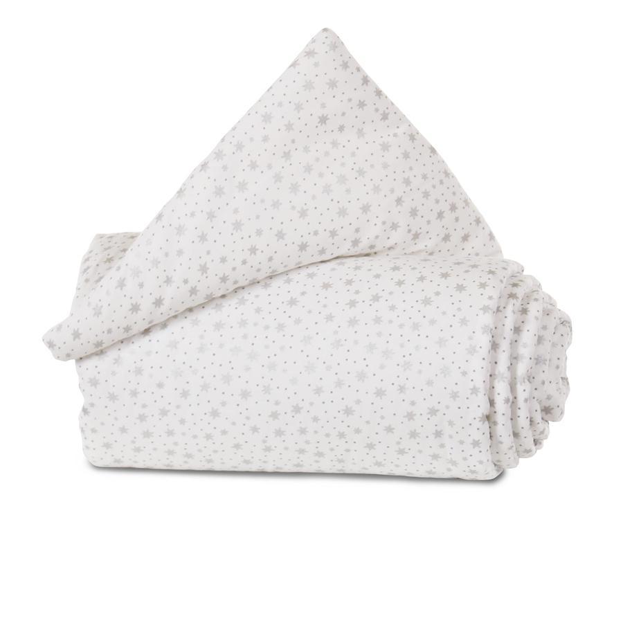 babybay Reunapehmuste luomupuuvilla Maxi -valkoinen kimalle tähtiä hopeaa 168 x 24 cm
