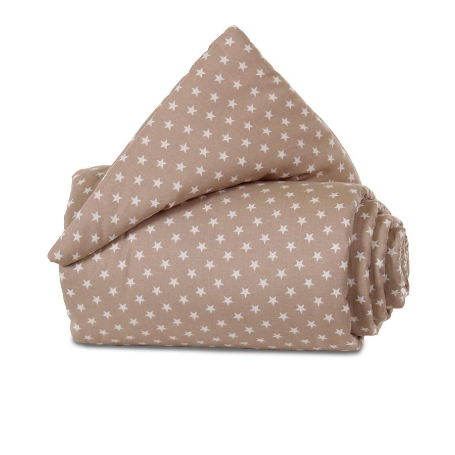 babybay Nestchen Organic Cotton Maxi hellbraun Sterne weiß 168 x 24 cm