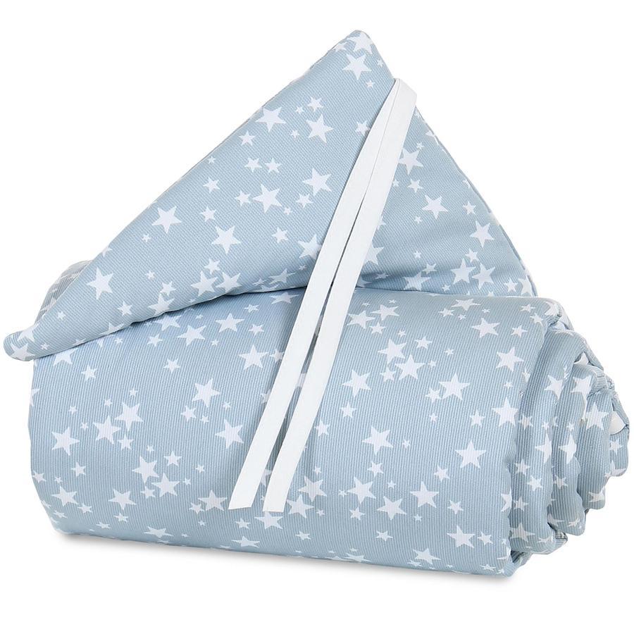 babybay Tour de lit cododo Boxspring piqué XXL bleu azur étoiles blanc 200x24 cm