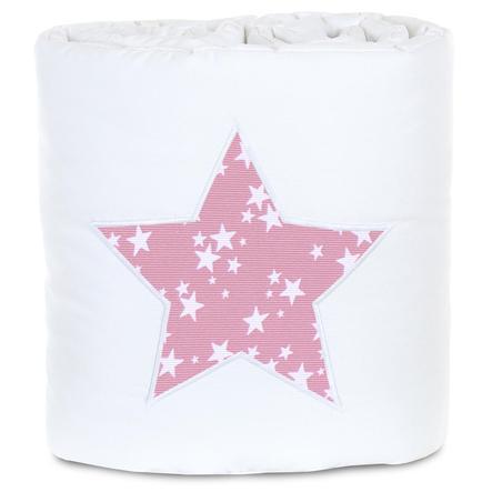 babybay Paracolpi Piqué Boxspring XXL stelle bianco/bacca