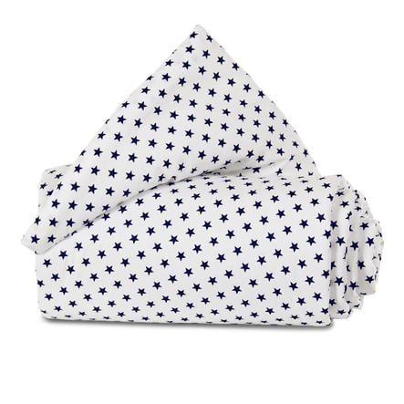 babybay Rede Organic Cotton Mini / Midi hvid stjerner blå 157x25 cm