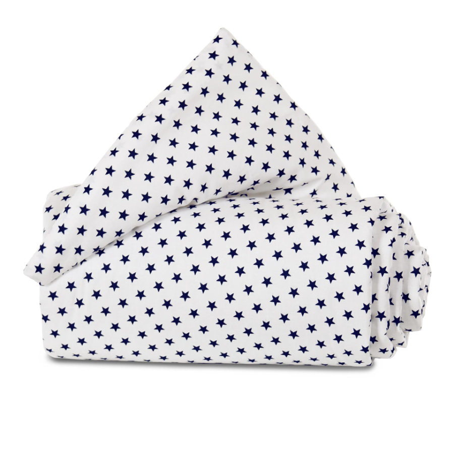 babybay® Nestchen Organic Cotton Mini/Midi weiß Sterne blau 157x25 cm