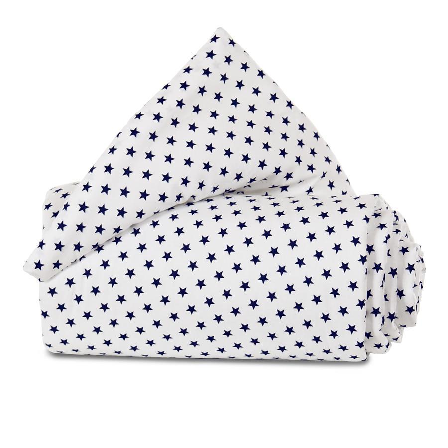 babybay Reunapehmuste Organic Cotton Mini / Midi valkoiset tähdet sininen 157x25 cm
