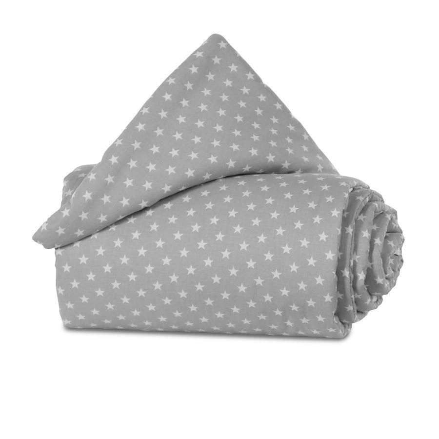 babybay® Nestchen Organic Cotton Mini/Midi lichtgrau Sterne weiß 157x25 cm