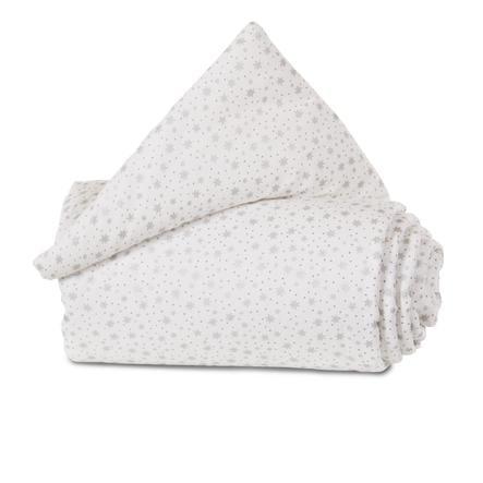babybay® Nestchen Organic Cotton Mini/Midi weiß Glitzersterne silber 157x25 cm