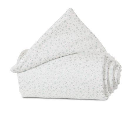 babybay Nest Organic Cotton Mini / Midi bílé třpytivé hvězdy máty 157x25 cm