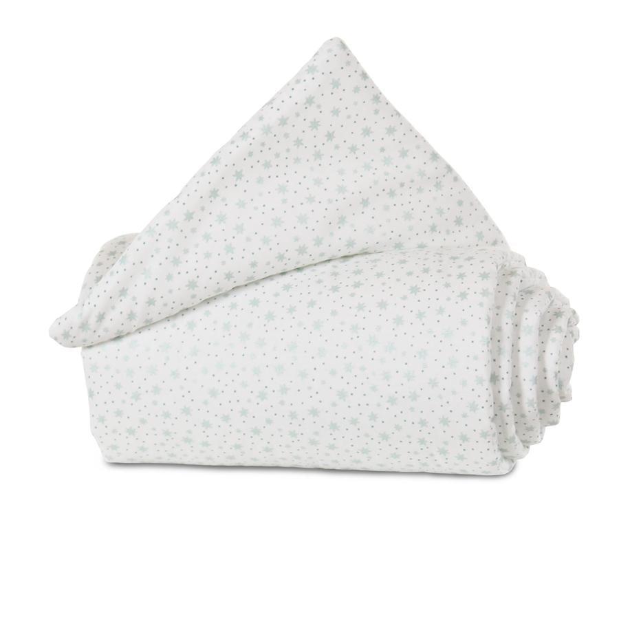 babybay® Tour de lit cododo mini/midi blanc étoiles paillette menthe 157x25 cm