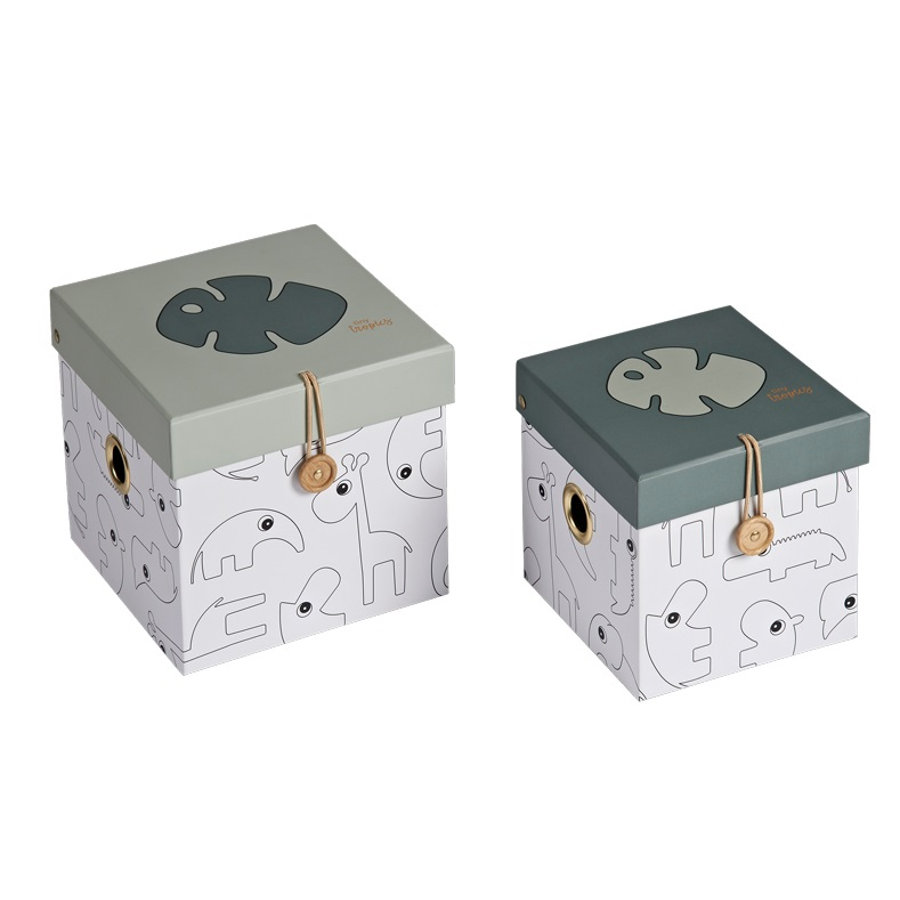 Done by Deer™ Cajas de almacenamiento Tiny Tropics 2 piezas, gris