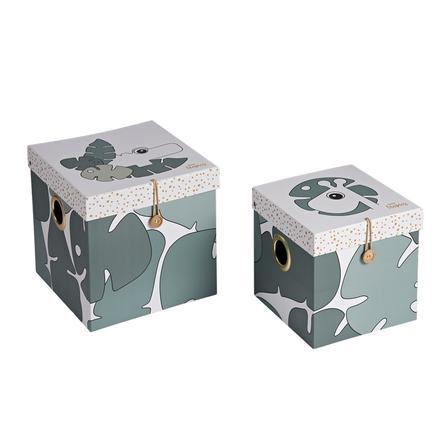 Done by Deer™ Cajas de almacenamiento Tiny Tropics de 2 piezas, verde