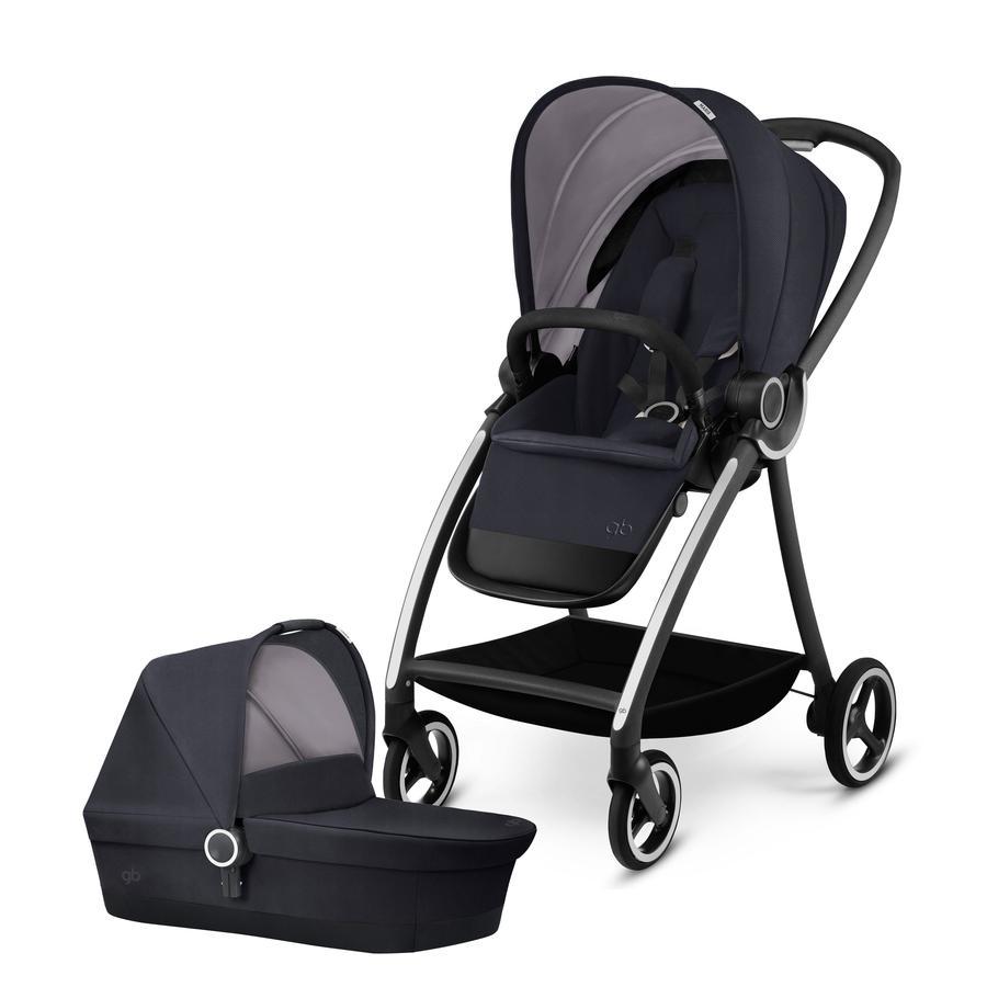 gb PLATINUM Kinderwagen Maris mit Kinderwagenaufsatz Cot Silver Fox Grey-mid grey