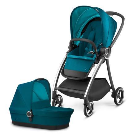 gb PLATINUM Kinderwagen Maris mit Kinderwagenaufsatz Cot Maris Capri Blue