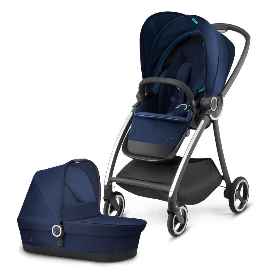 gb PLATINUM Kinderwagen Maris mit Kinderwagenaufsatz Cot Sea Port Blue