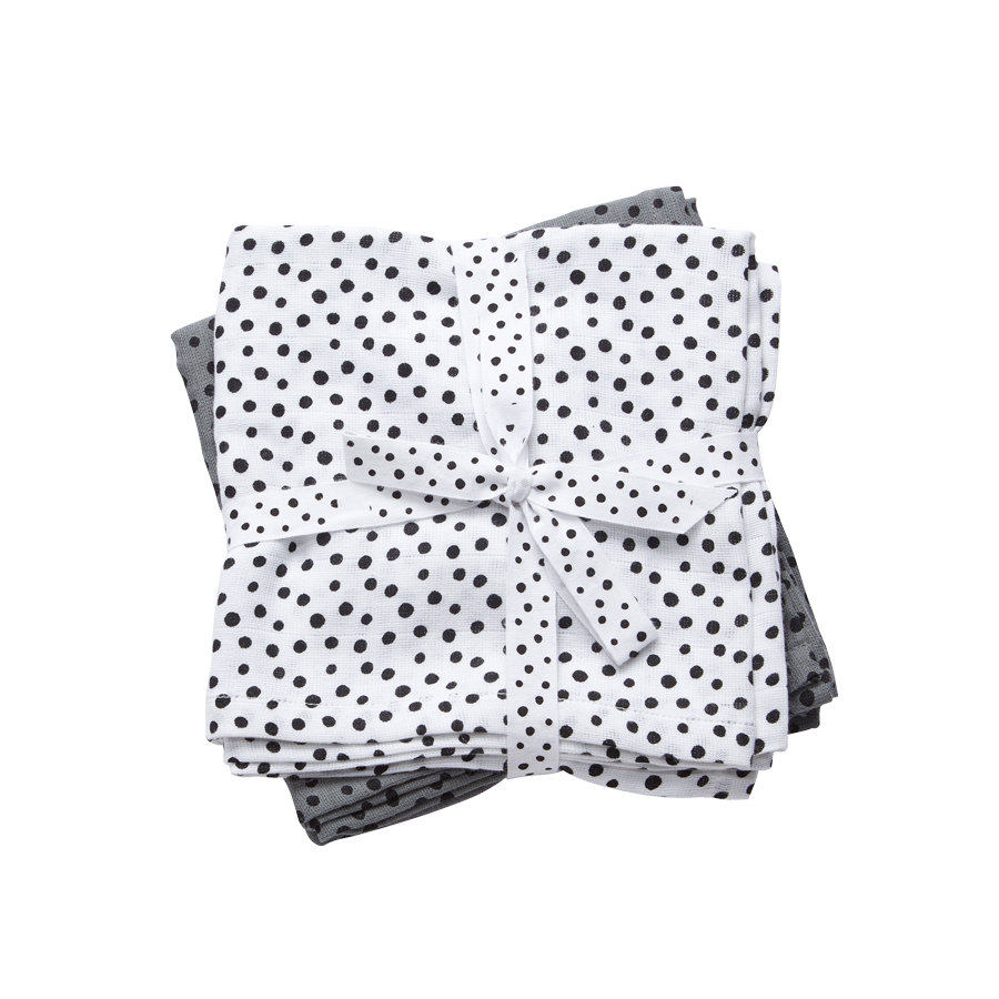 Done by Deer ™ Spit Towel 2-pack Happy dots Grijs