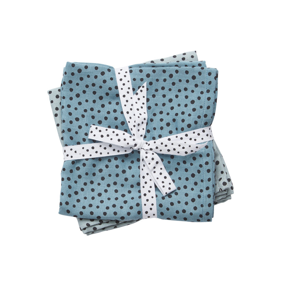 Done by Deer ™ Spit Towel 2-pack Happy dots Blauw