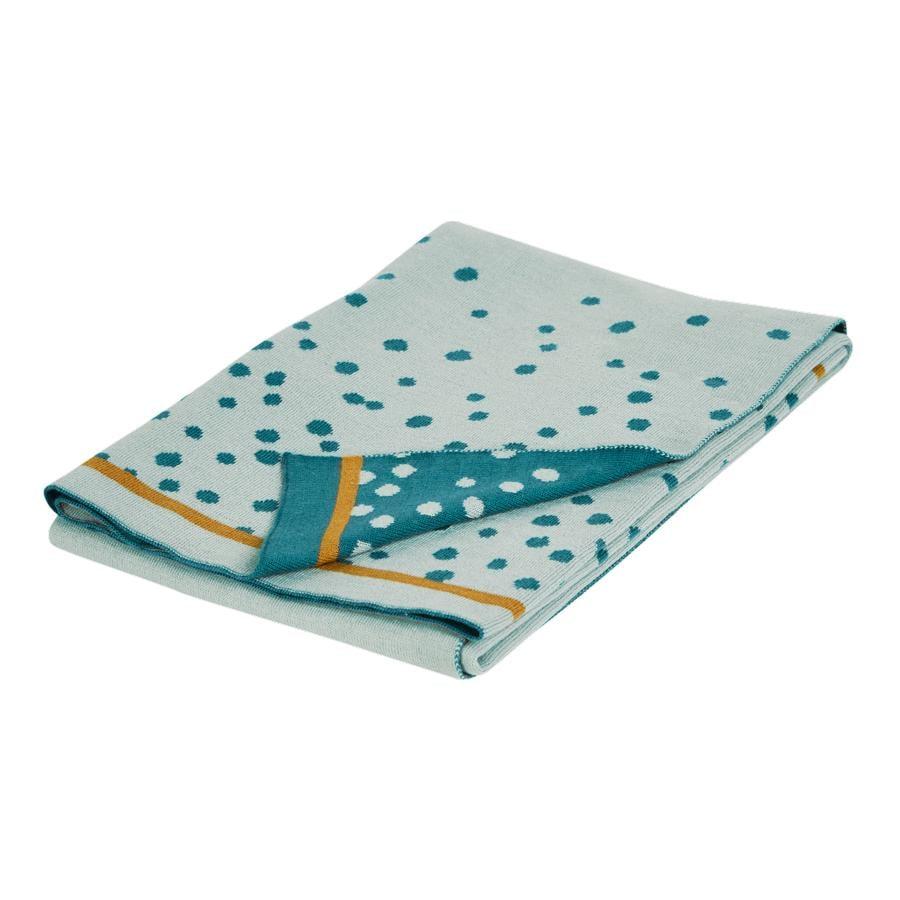 Done by Deer™ Plaid enfant tricoté Happy dots bleu 80x100 cm