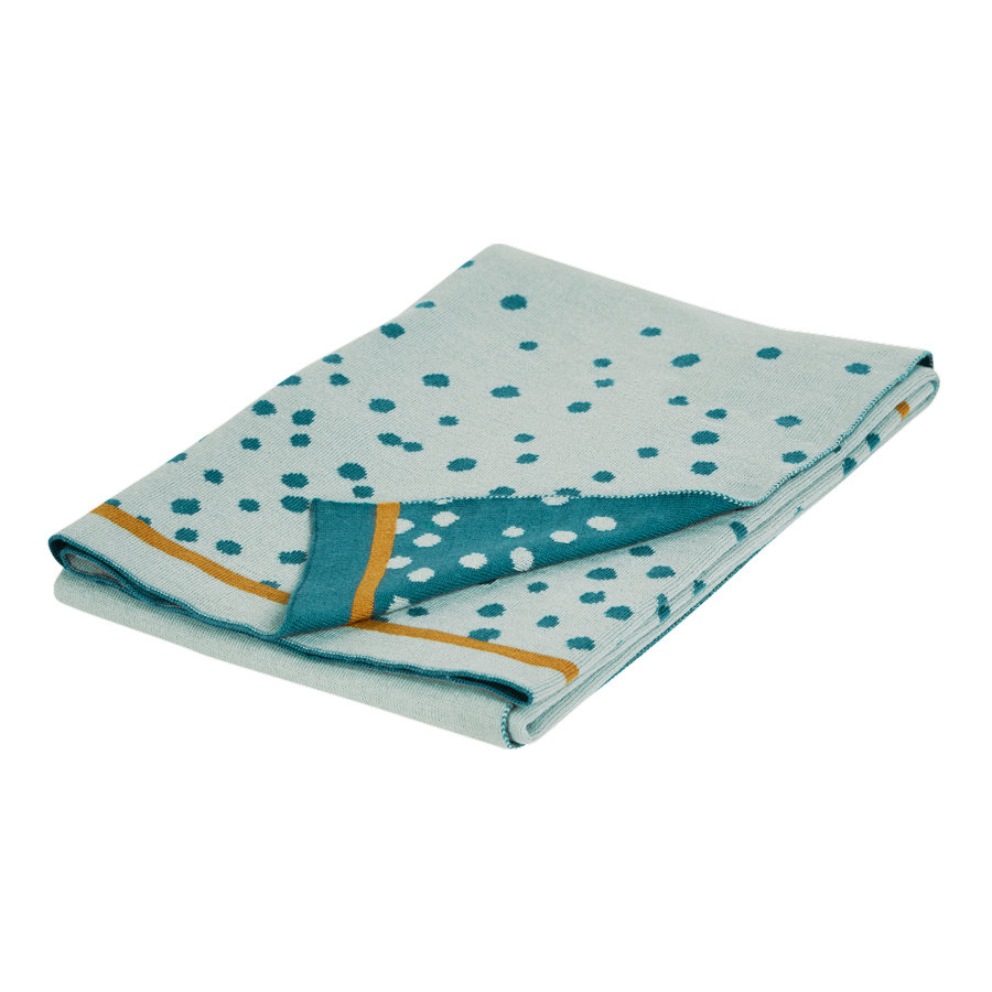 Done by Deer ™ Stickad filt Happy dots Blue 80x100 cm