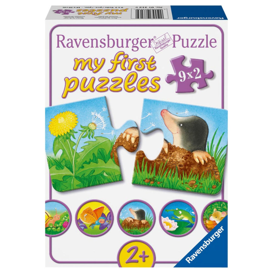 RAVENSBURGER Il mio primo puzzle Animali in giardino -  2 pezzi - 7313