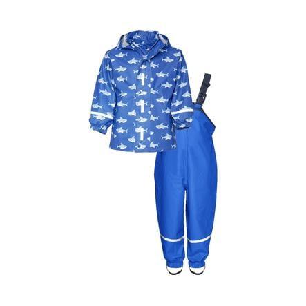 Playshoes Set antipioggia Squalo blu