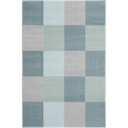 LIVONE Barnmatta Happy Rugs - Checkerboard blå, 120 x 180 cm