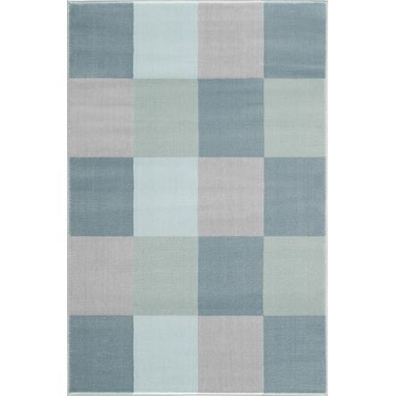 LIVONE leg og børnetæppe Happy Rugs - Checker board blå, 120 x 180 cm