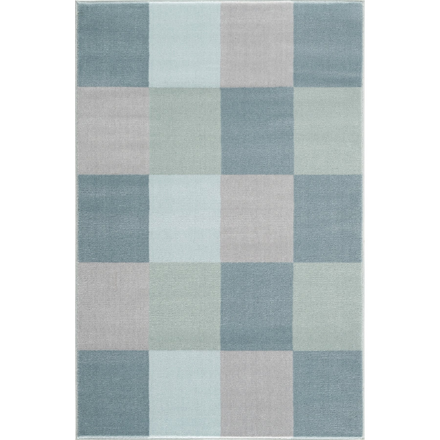 Tapis de jeu et d'enfant LIVONE Happy Rugs - Dames board bleu, 120 x 180 cm
