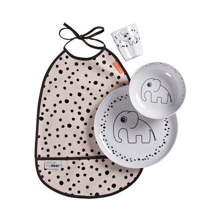 Done by Deer™ Kit vaisselle enfant 6 m+ Happy dots rose 4 pièces