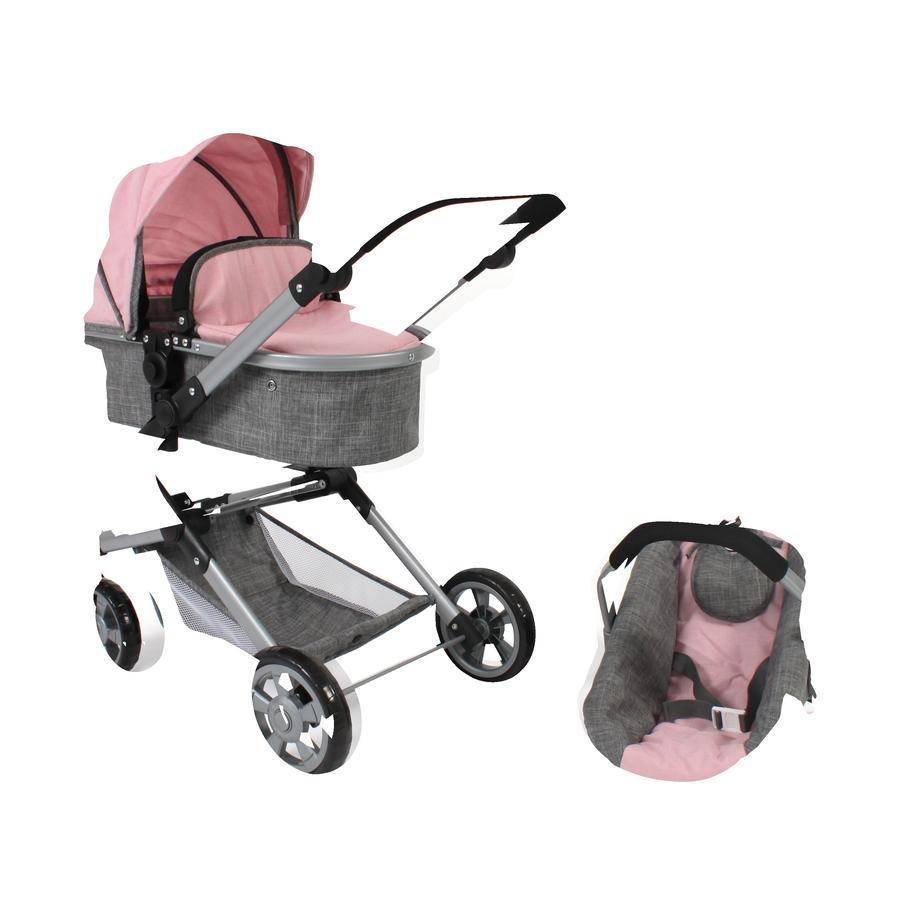 BAYER CHIC 2000 Kombi-Puppenwagen Lia, melange grau-rosa