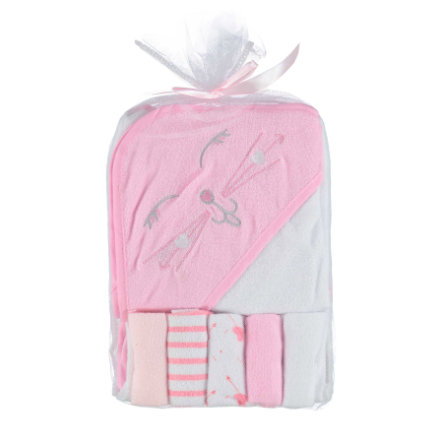 HÜTTE & CO Cape de bain enfant, 5 gants de toilette rose