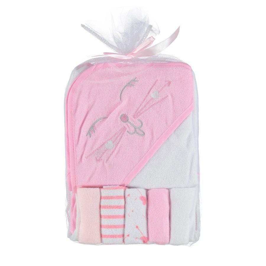 HÜTTE & CO Cape de bain enfant, 5 gants de toilette rose