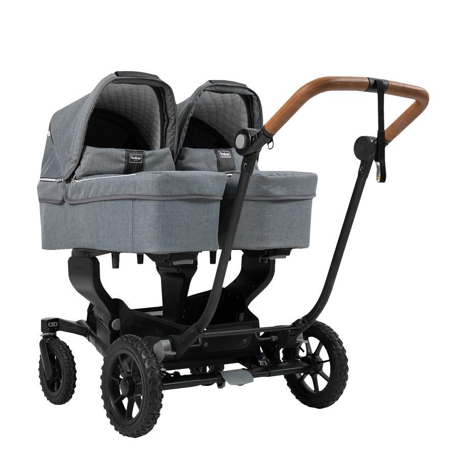 Emmaljunga Zwillingswagen NXT Twin mit Wanne Black Outdoor AIR/Lounge Grey
