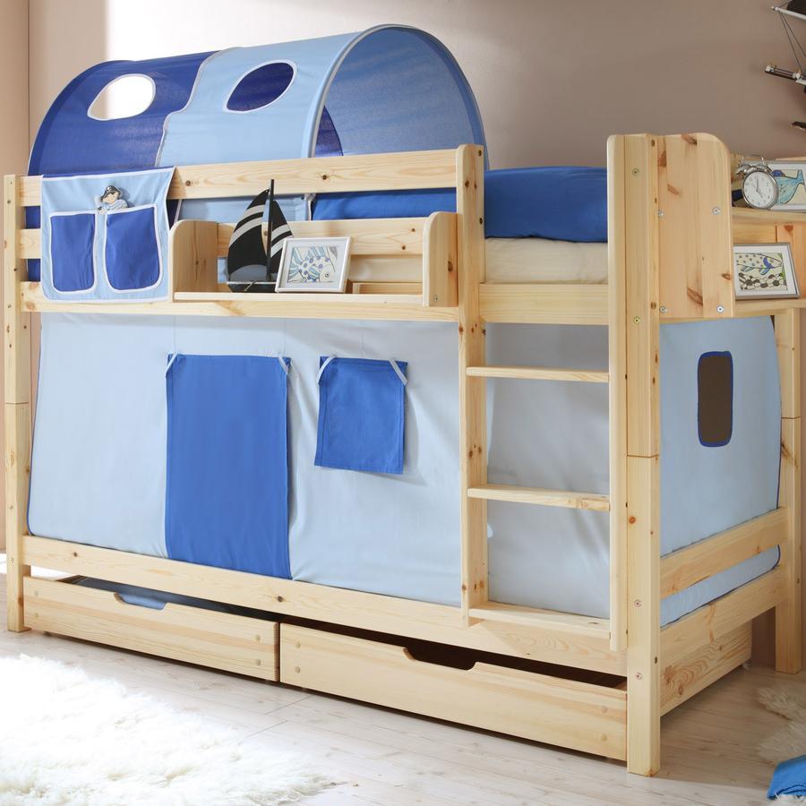 TICAA dvojlůžková patrová postel natur - světle/tmavě modrá