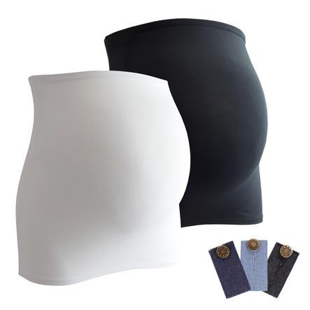 mamaband Bauchband 2er-Pack + 3er Pack Hosenerweiterung schwarz/weiß