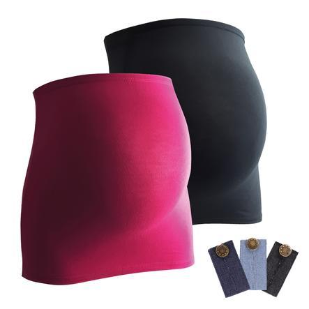 mamaband Bauchband 2er-Pack + 3er Pack Hosenerweiterung schwarz/magenta