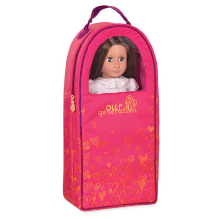 Naše generace - taška na panenky se srdíčky, růžová