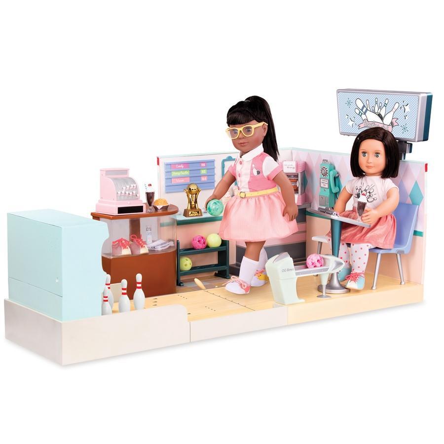 Our Generation - Circuit de bowling pour poupée rétro, sons et lumières