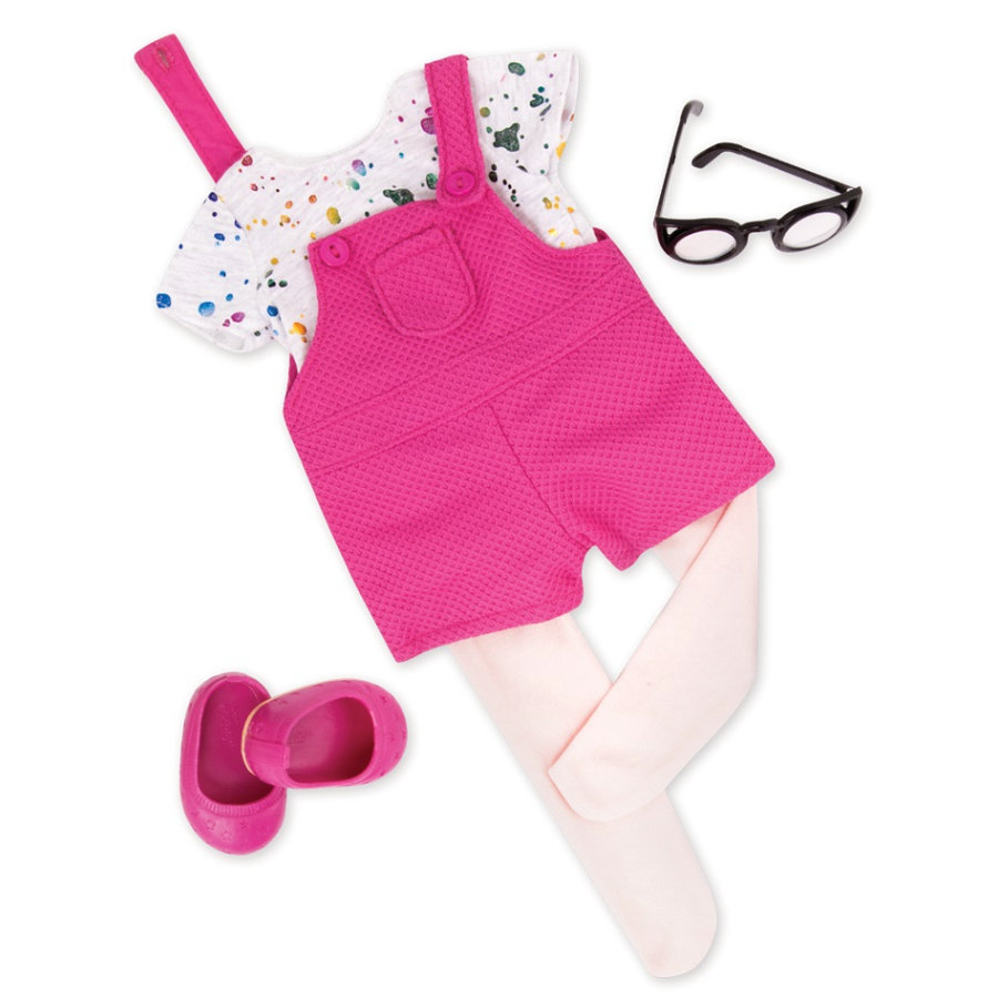 Our Generation -outfit Lyhyt dungarees paita ja lasit