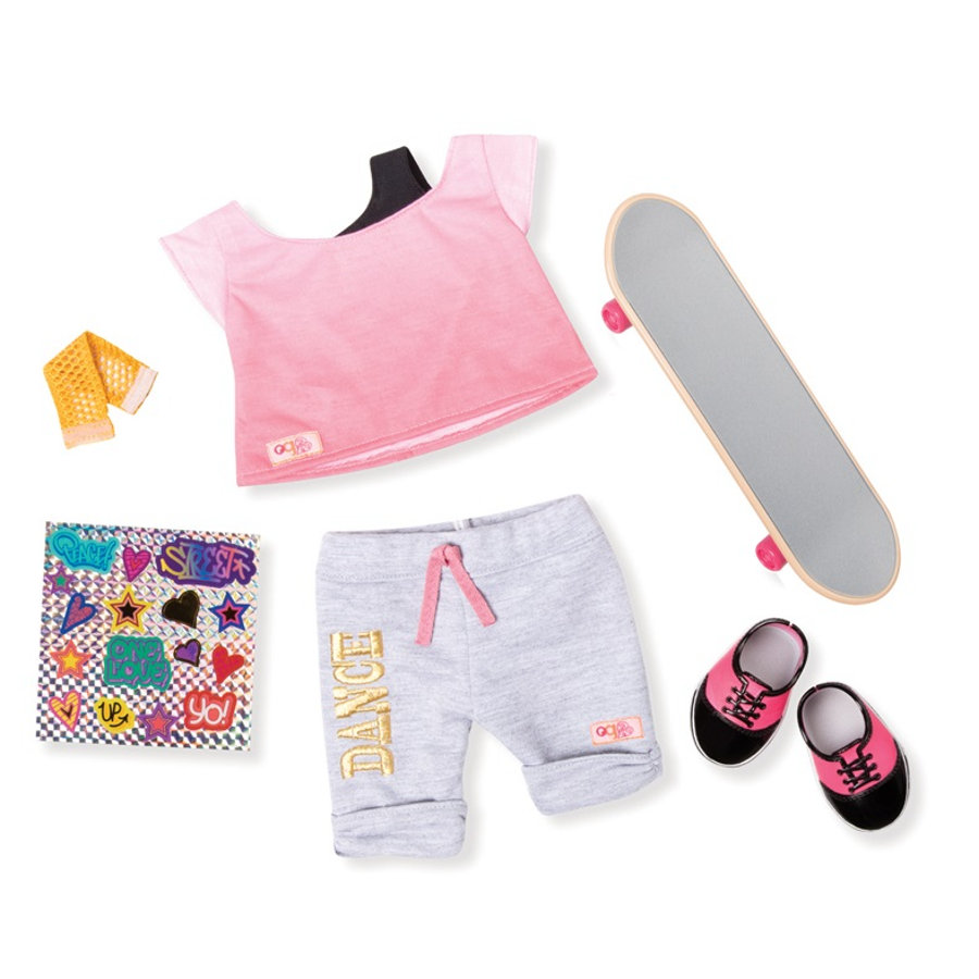 Our Generation -Outfit Skateboard HIP HOP mit Stickern
