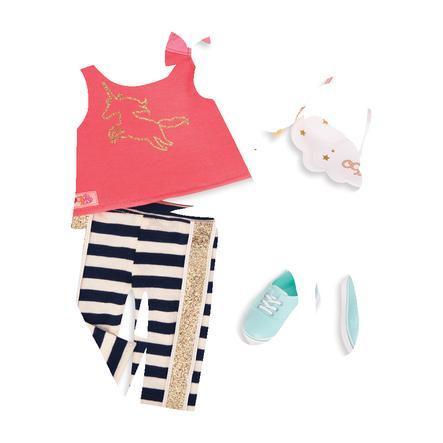 Our Generation -outfit-housut raidoilla ja yksisarvinen paita