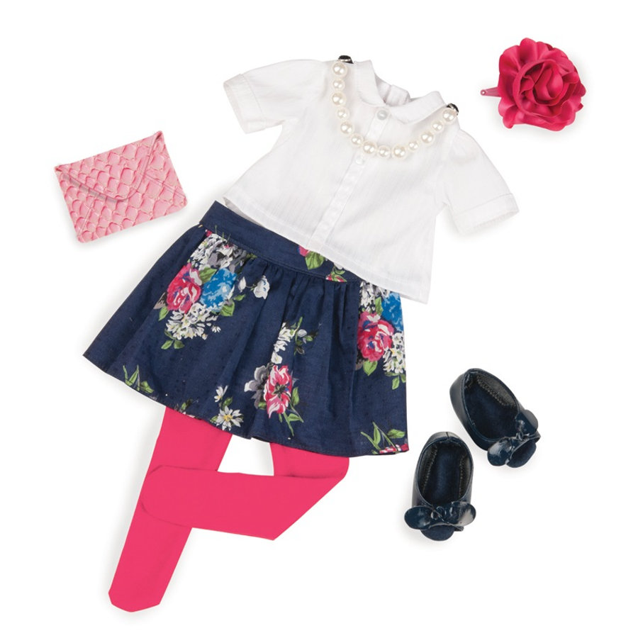 Our Generation - Outfit Deluxe blomster nederdel med bluse