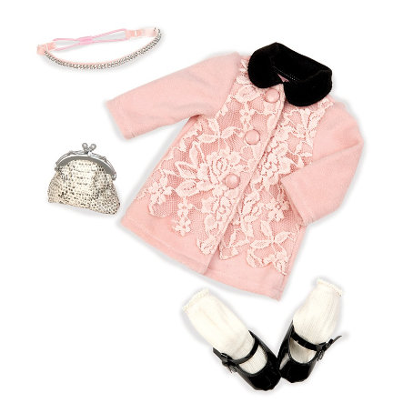 Our Generation -Outfit Deluxe Mantel mit Spitze, rose
