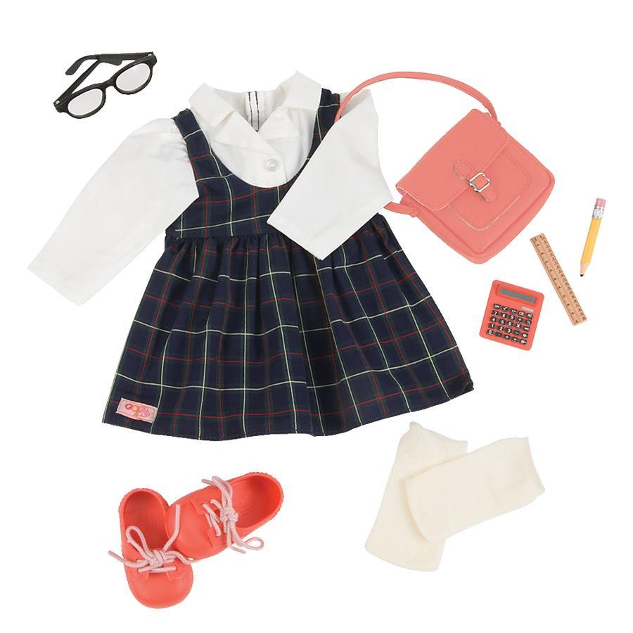 Our Generation - Tenue pour poupée Deluxe robe carreaux, sac à bandoulière