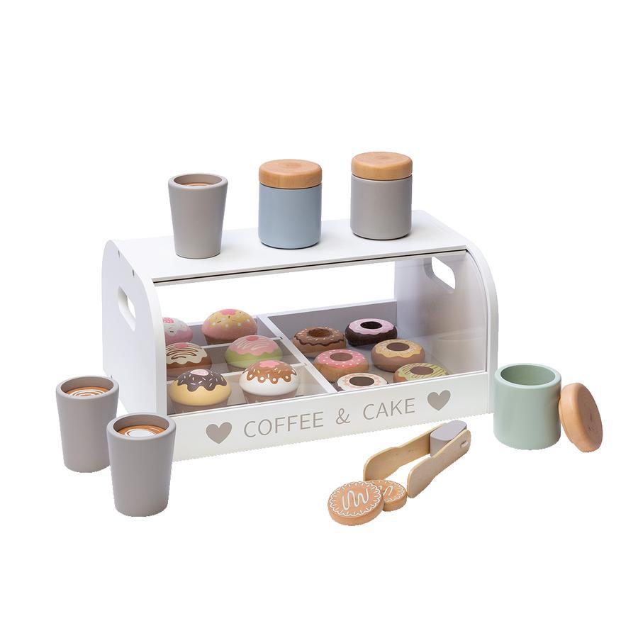 MUSTERKIND® Présentoir gâteaux pour marchande enfant bois blanc/multicolore