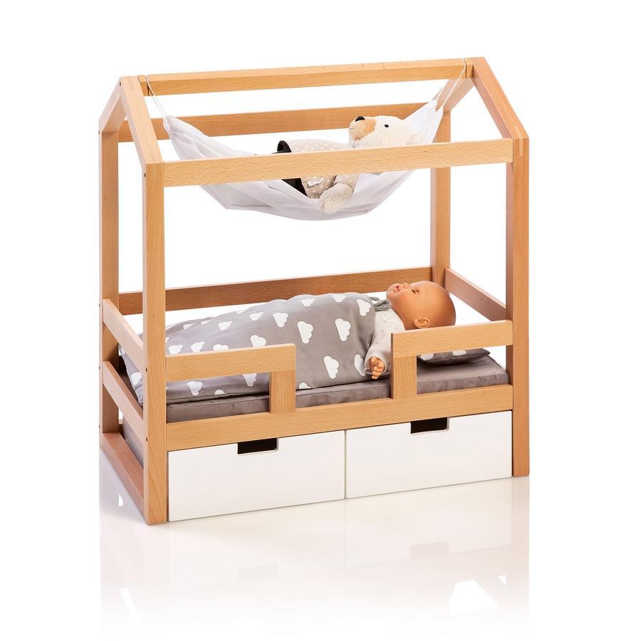 MUSTERKIND® Lit cabane pour poupée Barlia bois, naturel/blanc