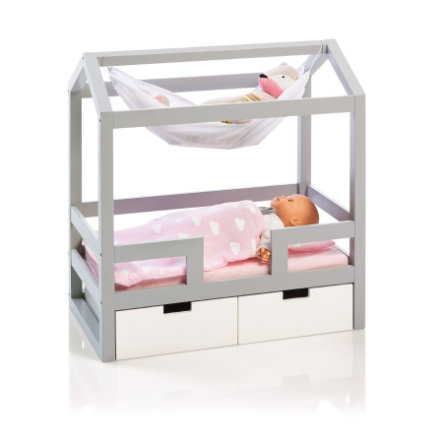 MUSTERKIND postel pro panenky Barlia, šedá / bílá