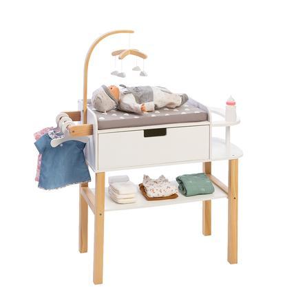 MUSTERKIND Mueble cambiador para muñecas Barlia, Natural/Blanco