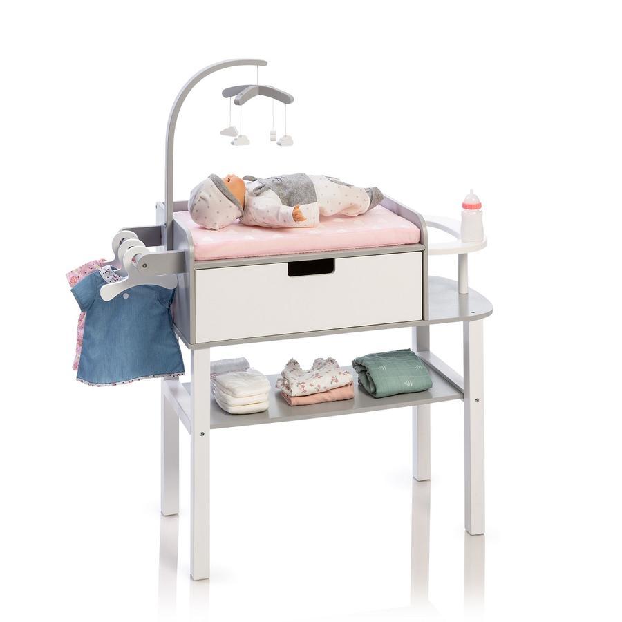 MUSTERKIND® Fasciatoio per bambola Barlia, grigio/bianco