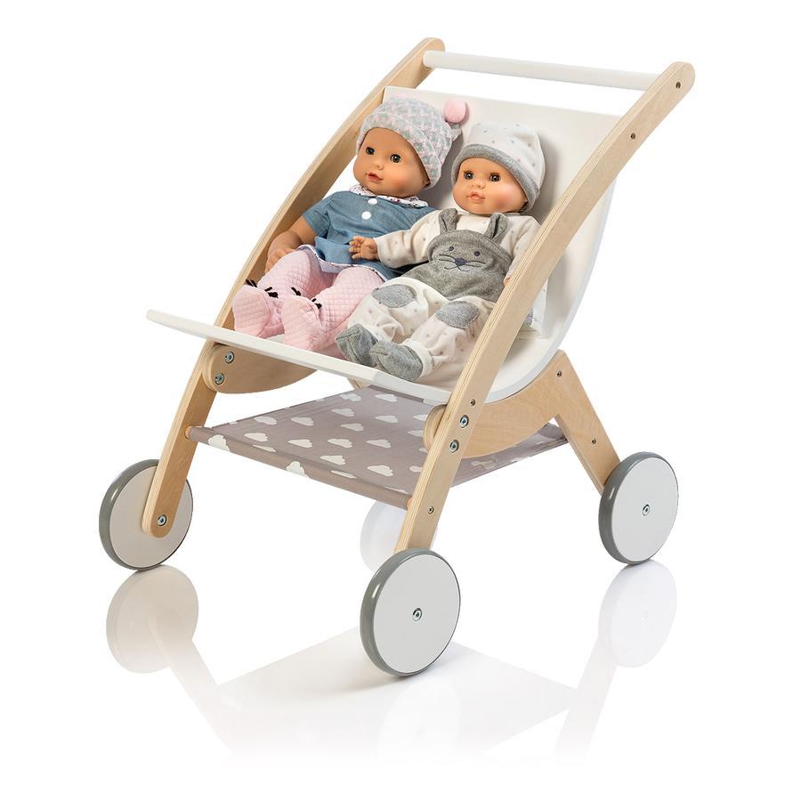 MUSTERKIND® Puppen-Zwillingswagen Barlia, natur/weiß